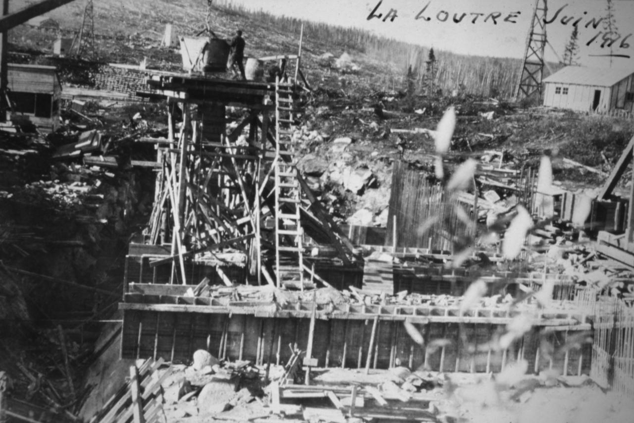 Barrage La Loutre en construction 1916