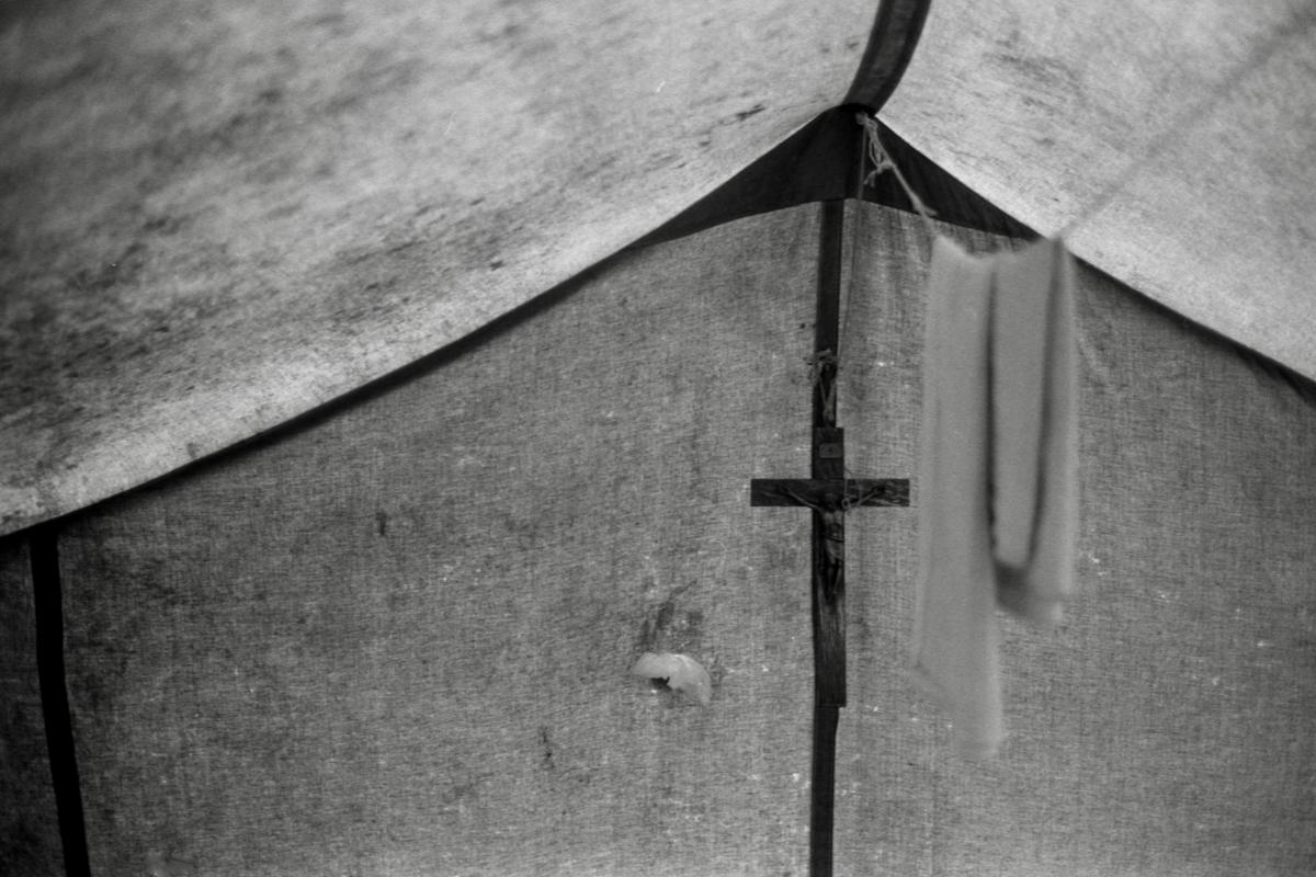 Intérieur d'une tente Atikamekw