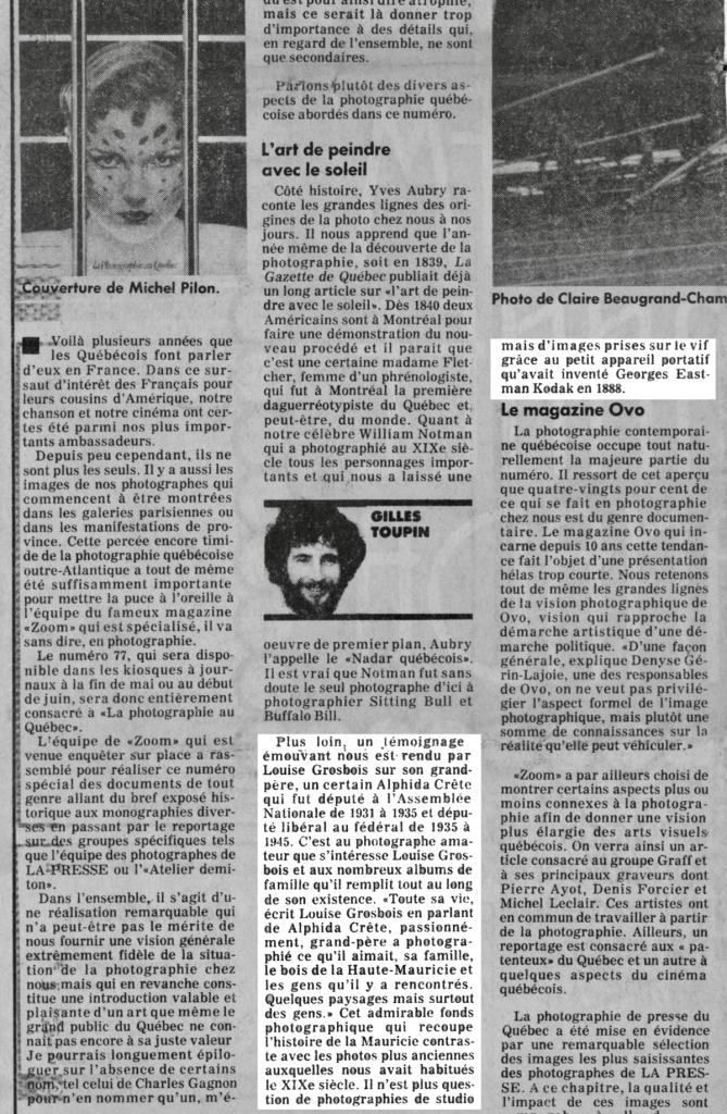 La Presse, 18 avril 1981, sur la revue Zoom no 77
